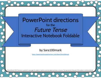 Spanish Future Tense Foldable for Interactive Notebook - PowerPoint Directions