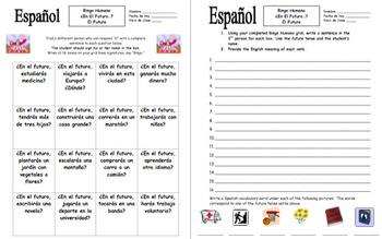 Spanish Future Tense Human Bingo Game Speaking Activity