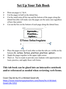 Spanish Future Tense (Irregular) Tab Book