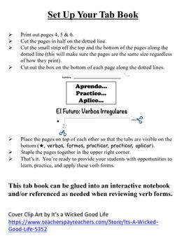 Spanish Future Tense (Irregular) Tab Book
