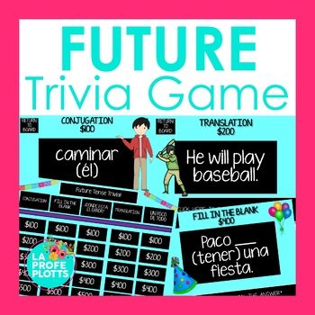 Spanish Future Tense Jeopardy-Style Trivia Game