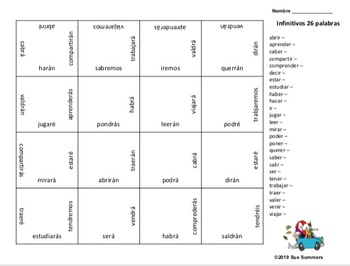 Spanish Future Tense Matching Squares Puzzles and Translation Activities