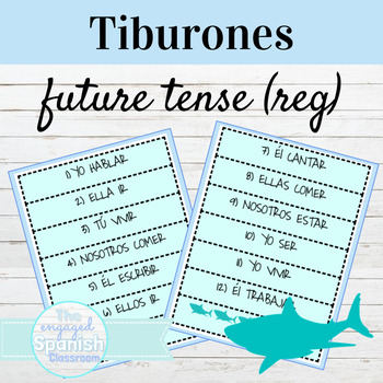 Spanish Future Tense Regular Verbs / El Futuro: Tiburones conjugation game