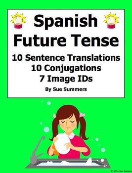 Spanish Future Tense Sentences, Conjugations, and Image IDs