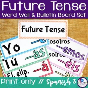 Spanish Future Tense Verb Conjugations Word Wall & Bulletin Board Set