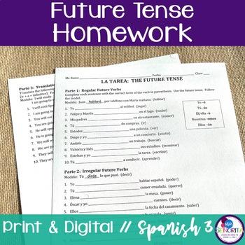 Spanish Future Tense Homework - Regular & Irregular Verbs