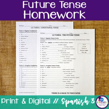 Spanish Future Tense Homework - Regular & Irregular Verbs