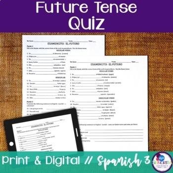 Spanish Future Tense Quiz - Regular & Irregular Verbs