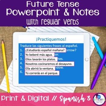 Spanish Future Tense Powerpoint & Notes - Regular Verbs