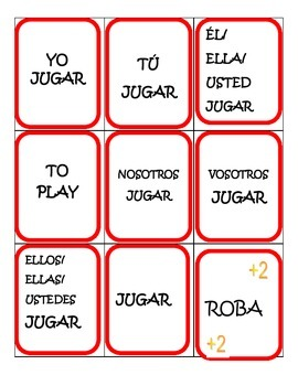 Spanish Game: AR verb conjugation  game (played like UNO)