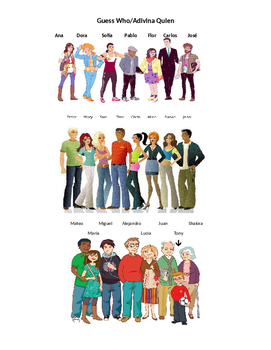"""La Ropa Spanish Game Activity """"Guess Who"""" for Clothing + Descriptions of People"""