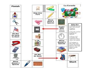 Spanish Game Boards-Comida/Ropa/Escuela
