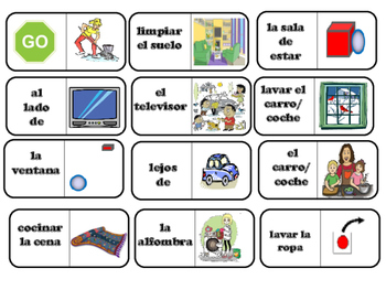 Spanish Game: Dominoes for Chores in the house