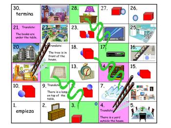 Spanish Game: En la casa Snake and Ladder game
