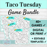 Spanish Taco Tuesday Activity BUNDLE with Editable Game Templates