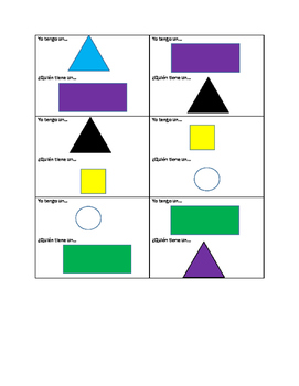 "Spanish Game: ""I Have, Who Has"" Colors and Shapes"
