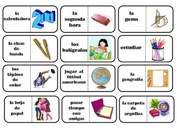 Spanish Game: La escuela domino game