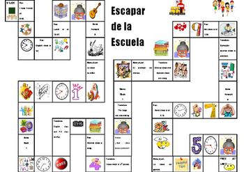 Spanish Game: Escape from School- School and Time (la escuela y la hora)