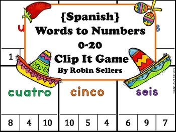 Spanish Game: Spanish Words to Numbers 0-20... by Robin Sellers ...