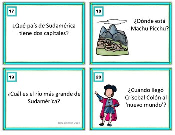 Spanish Task Cards Trivia Game - Concurso de Preguntas Triviales (Sub Activity)