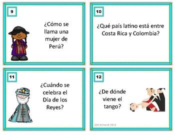 Hispanic Culture Task Cards Trivia Game in Spanish (Sub Activity)