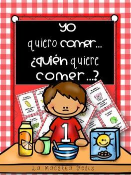 Spanish Game: Yo quiero comer,¿Quién quiere comer..? Juegos de 44  tarjetas