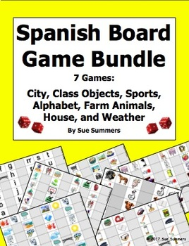 Spanish Games Bundle of 7 - Animals, Weather, City, House, Sports, and More!
