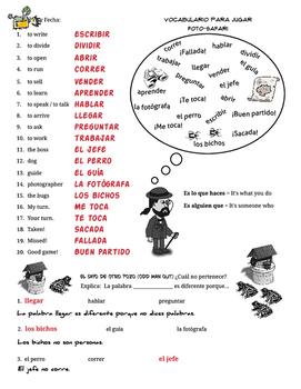Spanish Regular Present Verbs. Juegos de Verbos Regulares en el Presente Español