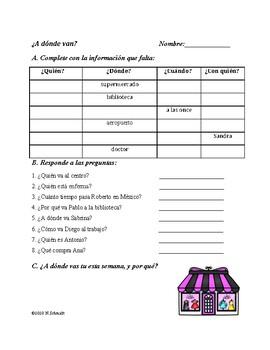 Spanish Fun Reading: ¿A dónde van? (Ciudad, de compras)