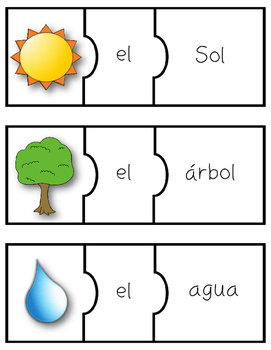 Spanish Gender Articles Puzzles: el and la