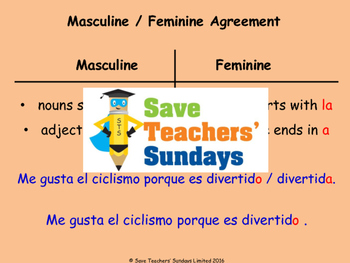 Spanish Gender agreement Lesson plan, PowerPoint (with audio) and More ...