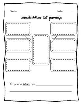 Spanish Generic Character Traits Organizer