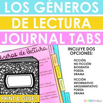 Spanish Reading Genre Tabs for Reading Journals!