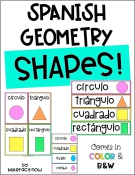 Spanish Geometry Shapes in Color and B&W! 16 Shapes!