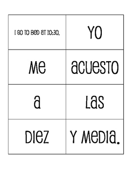 Spanish Getting Ready Sentence Mixer