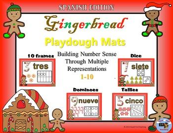 Spanish Gingerbread Number Sense Playdough Mats Bundle