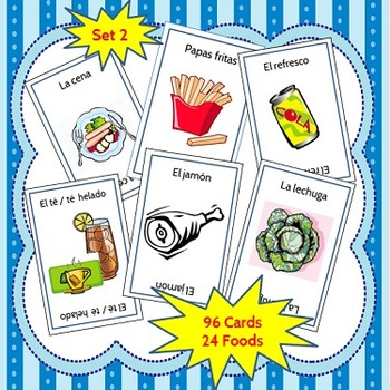 Spanish Go Fish Game Dinner Foods--La Comida