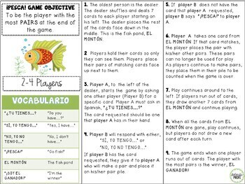 Spanish Go Fish (Pesca) Game With Adjectives