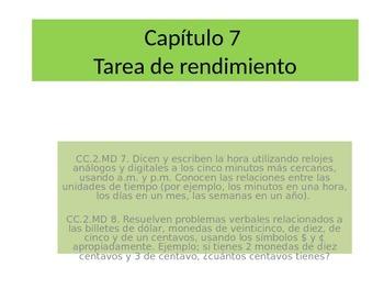 Spanish  2ndGrade   Chapter 7 Math Performance task