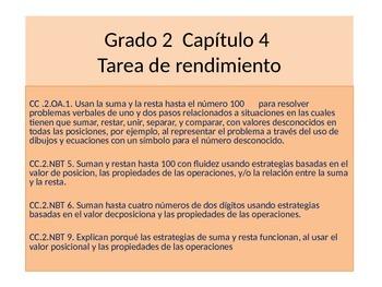 Spanish 2ndGrade    Chapter 4 Math Performance task