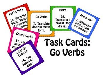 Spanish Go Verb Task Cards
