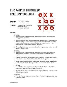 Spanish Go Verb Tic Tac Toe Partner Game