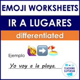 Spanish Going Places Worksheets (Ir a lugares) with Emoji Puzzles