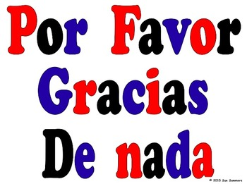 Spanish Class Signs Good Morning/Afternoon/Night, 4 Meals, Courtesies