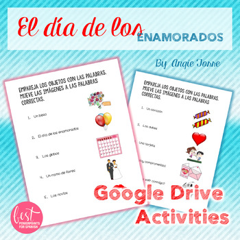 Spanish Google Drive Activities: Valentine's Day Vocabulary San Valentín