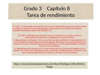 Spanish 3rd Grade Chapter 8  Math Performance Task