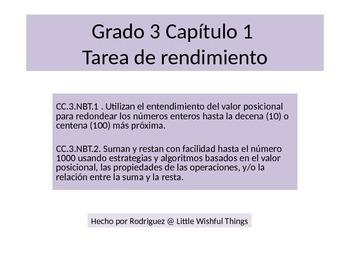 Spanish 3rdGrade  Chapter 1 Math Performance Task