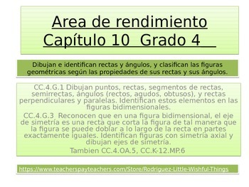Spanish 4th Grade  Chapter 10 Math Performance task