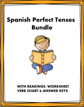 Spanish Perfect Tenses Bundle - Compuesto Perfecto- 5 Worksheets & 2 Readings!