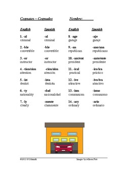 spanish english cognates worksheet cognados sub plan tpt. Black Bedroom Furniture Sets. Home Design Ideas